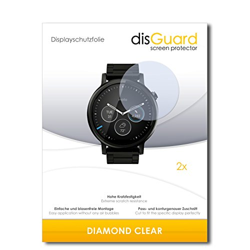disGuard 2 x Displayschutzfolie Motorola Moto 360 (2015) 46mm Schutzfolie Folie DiamondClear unsichtbar