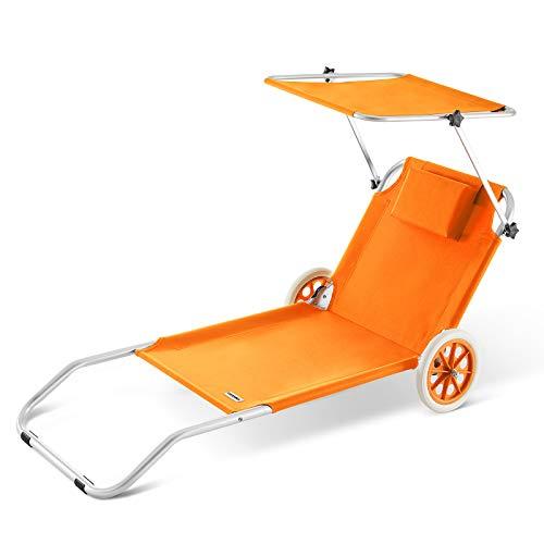 Casaria Alu Sonnenliege Kreta mit Dach klappbar 2 Räder Strandliege Gartenliege Strandrolli Liege Farbauswahl orange