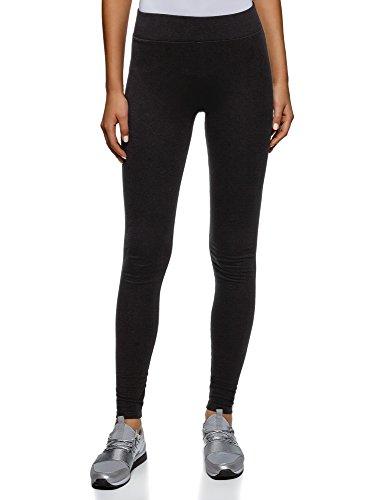 oodji Ultra Damen Jersey-Leggings Basic, Schwarz, 38