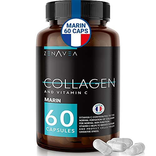 ZENAVEA - Integratore Alimentare con Collagene e Vitamina C - 60 Capsule, Collagene Marino, riduce lo Stress e la Fatica, indicato per la Pelle e la Crescita Capelli