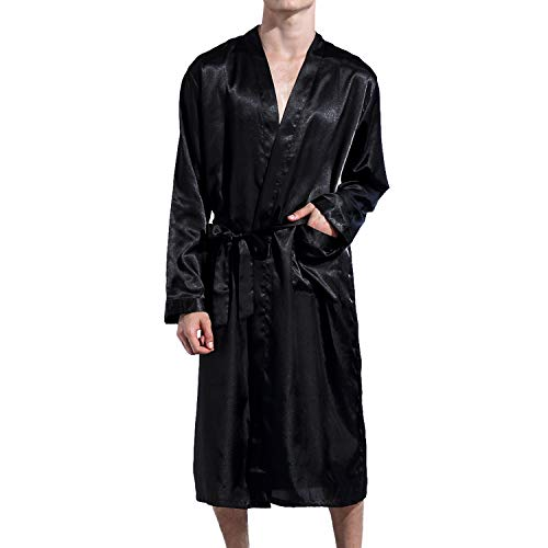 Lu's Chic Men' Satin Kimono Robe Silk Classic Long Bathrobe Pockets Lighweight Loungewear Black Large