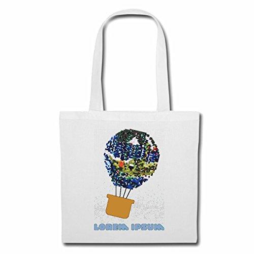 Tasche Umhängetasche HEISSLUFTBALLON BESTEHEND AUS Pixel BALLONFAHRER Luftfahrt Ballon Luftballon Einkaufstasche Schulbeutel Turnbeutel in Weiß