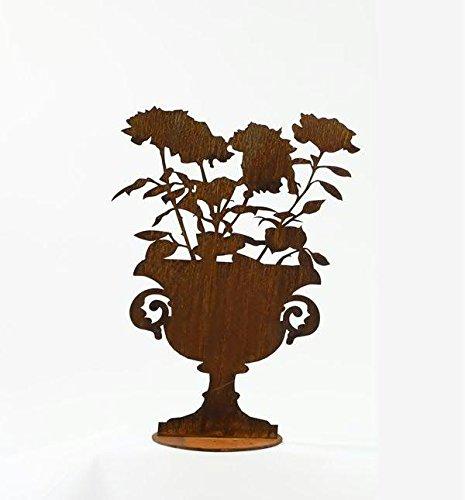 Rost Deko - Amphore / Pokal mit Rosen auf Bodenplatte (fester Stand) - Metall / Edelrost - Höhe 45cm - Gartendeko & Tischdeko