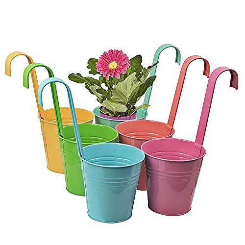 esto24® 6er Set Pastellfarben robuste Hängetopf Pflanztopf Übertopf mit Haken BUNT Zink Blumentopf Vase Balkon Garten
