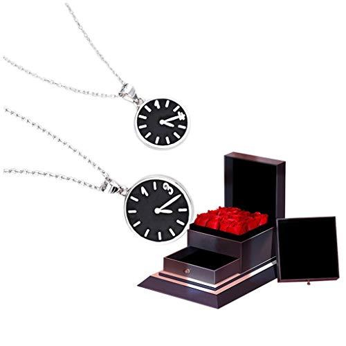 LJXLXY Pareja Reloj Collar un par de Plata de Ley 925 Hombres y de Regalos de San Valentín (Caja de Regalo) Collar de Las Mujeres clavícula Cadena (tamaño : B)
