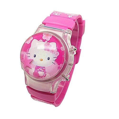 Reloj Niño XYBB Resplandor de Dibujos Animados de Silicona LED Flash Light Watch Niñas y niños Reloj electrónico con Tapa abatible para bebés