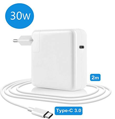 USB C MacBook Air Ladekabel Netzteil 30W, 30w Ladegerät MacBook USB C kompatibel mit MacBook 12 Zoll Mac Air 2018 (29W) spät, iPhone 11 & iPad Pro