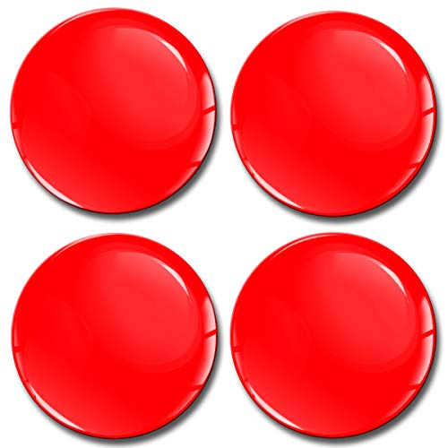 Price comparison product image Biomar Labs® 4 x 70mm 3D Domed Car Wheel Centre Rims Hub Red Stickers Decals For Caps Vehicle Auto Tuning Emblem A 1070