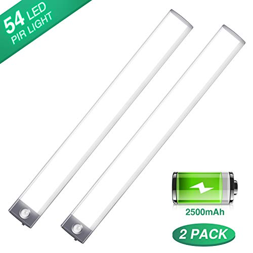 LED Motion Sensor Cabinet Light 2500mAh 2 Packs Rechargeable Under Counter Closet Lighting, Wireless Night Light with 54 LEDs for Cabinet, Wardrobe, Kitchen, Hallway, Stairs