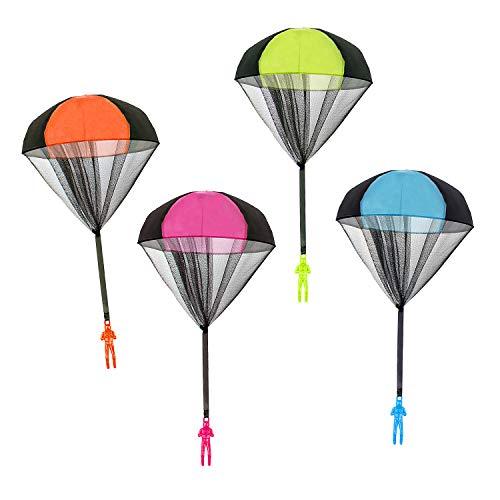 Comius Fallschirmspringer Spielzeug, 4 Stück Verwicklungsfreie Kinder Hand Werfen Fallschirm Kreative Spielzeug