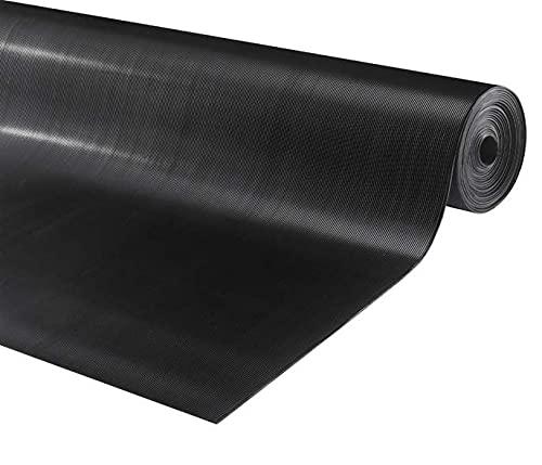 Vivol Rouleau de tapis en caoutchouc rainuré - Épaisseur : 3 mm - Largeur : 140 cm - Au mètre linéaire
