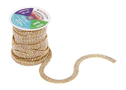 Mandala Crafts Rhinestone Cup Chain Trim Roll for Jewelry Making, Glass Crystal Glam Decor, Simulated Diamond Bling Wraps, Veils, Cakes (4 Row 2mm 10 Yards 1 Roll, Gold Tone Metal AB)