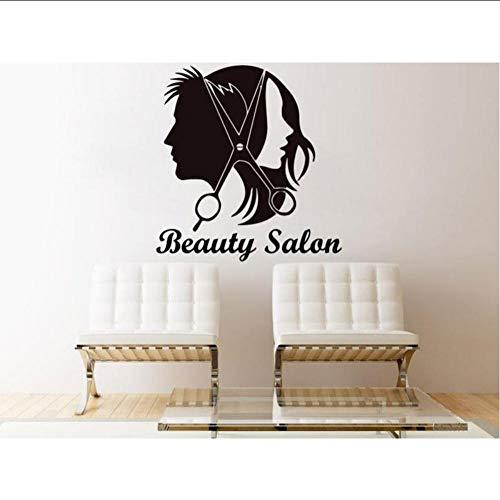 Layyyqx Beauty Salon Meisje Heren Schaar Decoratie Home Art Slaapkamer Woonkamer Vinyl Art Mural 57X60Cm