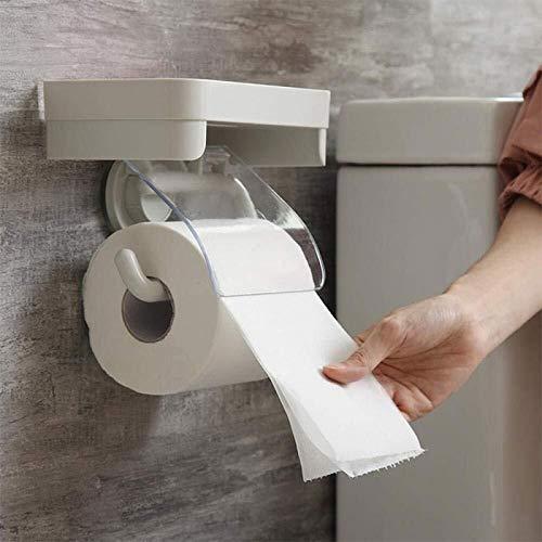 WLVG Soportes para Papel higiénico Porta Toallas de Papel Caja de pañuelos de baño Perforación Libre Tipo de Pared Portapapel higiénico Ventosa Porta Papel higiénico Tubo de Papel Impermeable