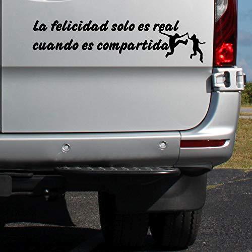 """klebenswichtig La Felicidad Solo es Real Cuando es compartida"""". Silueta de Gente Saltando ca.20cm Pegatina Pegatinas Furgoneta Autocaravana Caravana Vi"""
