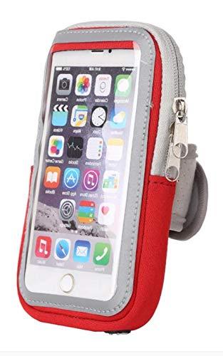 Sport-Armband Oberarm Tasche passend für Sony Xperia X Compact / XZ1 Compact / XZ2 Compact Handy Halterung Fitness-Hülle, Tasche mit großem Fach Jogging, Dealbude24 Arm-Tasche Klein Rot