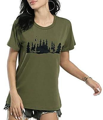 Skinny Pine Tree Shirt Women Raise Wildlife T-Shirt Nature Camping Hiking Shirt Mountains Short Sleeve Shirts Army Green