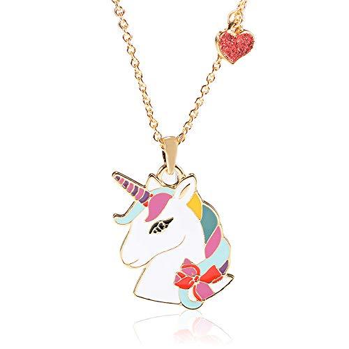 Collar con colgante de corazón con diseño de unicornio de animación para adolescentes y niñas