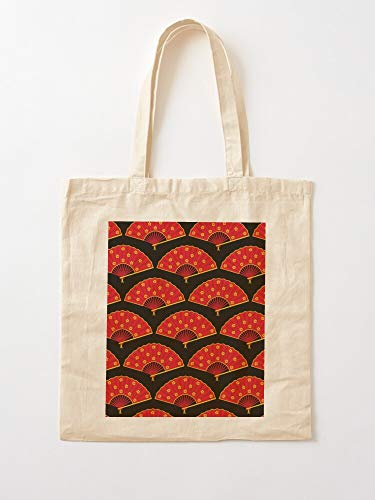 Fan Japan Black Pattern Red Japanese Chinese China Tote Cotton Very Bag   Bolsas de supermercado de lona Bolsas de mano con asas Bolsas de algodón duraderas