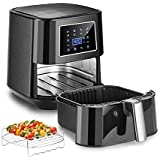 Air Fryer, Bear 6 Quart Electric Air Fryer Oven Oilless Cooker with 7 Presets, Digital Air Fryer Toaster Oven with Temperature Control, LED Digital Touch Screen, Nonstick Basket, Rack & 5 Skewers, Parchment Paper & Recipes Book, 1700W, Black