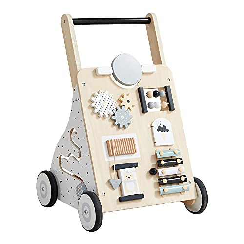 Asweets Wooden Baby Walker Push and Pull Learning Activity Walker for Boys and Girls Sit to Stand Learning Walker Toddler Toy (Natural)