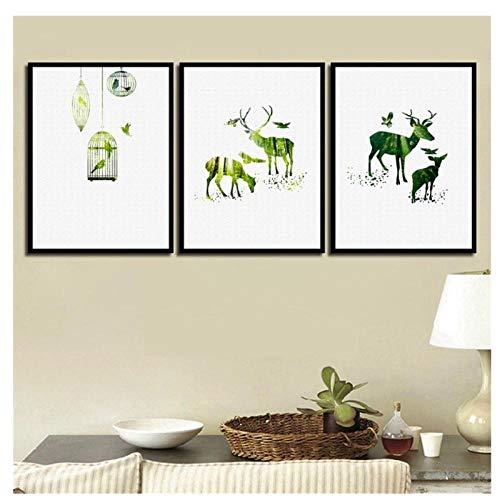 Kaxiou muurkunst in Noordse stijl groen dier hert vogel decoratie voor huis schilderwerk druk op canvas, moderne foto voor de woonkamer -40 x 60 x 3 stuks zonder lijst