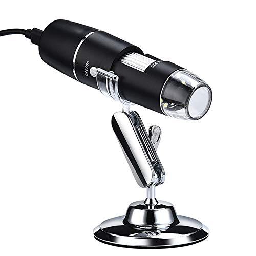 Microscopio USB, Microscopio digital USB de alta potencia 1600x Cámara de microscopio 3 en 1 PCB con 8 luces LED y soporte para microscopio para niños Compatible con Windows, Android y Mac