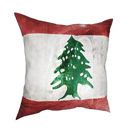 Kissenbezug Kissenbezüge 45x45CM Digital Composite - Flagge des Libanon & Folgen der Beirut Explosion im Libanon Dekoration für Home Decor Office Sofa Holiday Bar Kaffee Hochzeit Auto