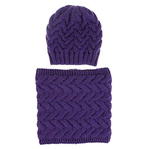 MaNMaNing Damen Warm Wild Strickmütze und Gestrickte Schals Winter Draussen Einfarbige Wollmütze (Dunkellila, Einheitsgröße)