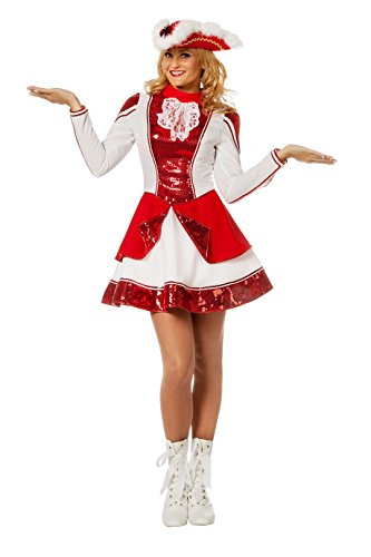 Wilbers 4140 Damenkostüm Tanzmariechen Deluxe Pailetten Rot Weiß Garde Kostüm Damen Karneval Fasching