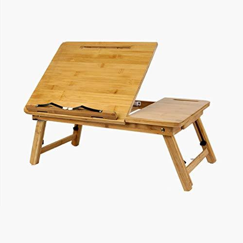 QFF@ Draagbare Klaptafel/Bamboe Materiaal Laptoptafel/Staande Werktafel/Slaapbank Breakfast Tray, Verstelbare Hoek/Verstelbare Hoogte/Boekenplank Bezel, Dit Is Een Goede Keuze Voor Een Thuiskantoor