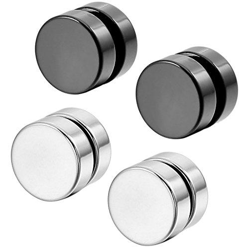 TANOU Acero Inoxidable Pendientes Enchufe Expander No Atravesar Cuerpo Joyas Joyeria Magnetico Hombre,Mujer (Plata, Negro, 2 Pares 8mm)