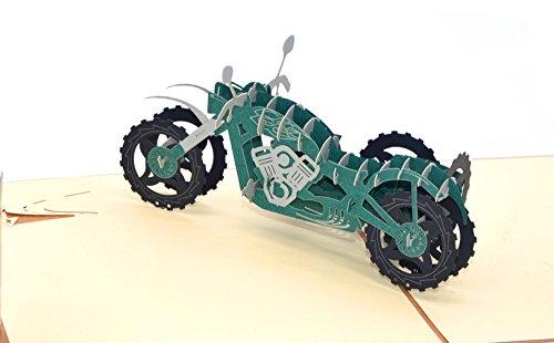 medigy 3D Pop up Grußkarten blanko Karten für die meisten occastions Motorrad Vintage motorcycle Green