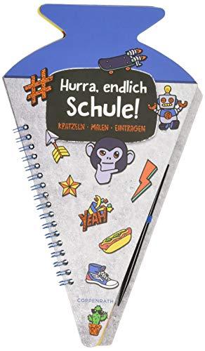 Schultüten-Kratzelbuch - Funny Patches - Hurra, endlich Schule! (blau): Kratzeln, Malen, Eintragen