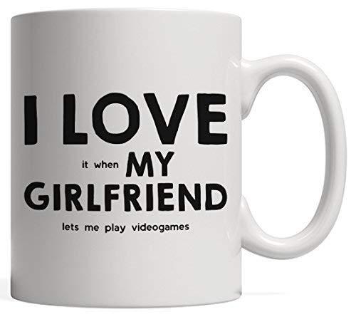 N\A Amo (Cuando) mi Novia (me Permite Jugar Videojuegos) Taza de café de cerámica de Regalo Divertido Jugador