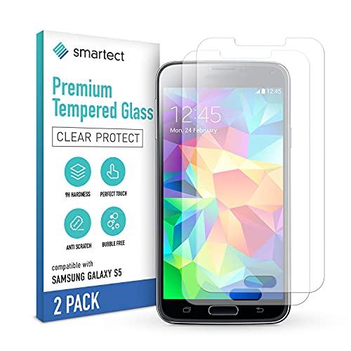 smartect Schutzglas kompatibel mit Samsung Galaxy S5 / S5 NEO [2 Stück] - Tempered Glass mit 9H Festigkeit - Blasenfreie Schutzfolie - Anti-Kratzer Bildschirmschutzfolie