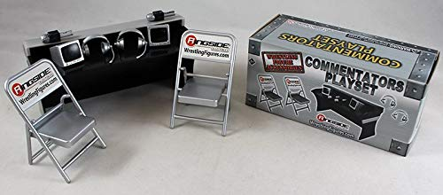 Wrestling Commentators Playset (Silver) - Ringside Collectibles Exclusive WWE Toy Action Figure Accessory Pack
