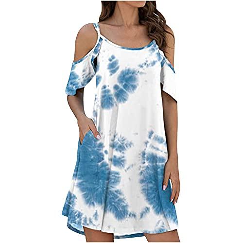 Sommerkleid Damen Kurz Lässiges Leichte Sommerkleider für Damen Kleider Sommer Blummenmuster A-Linie Kleid mit Taschen