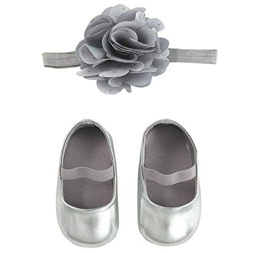 ABG Accessories Baby Boxed Shoe and Headband Set, Silver, 6-12M