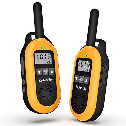 Radioddity PR-T2 PMR Walkie Talkie mit LC-Display Outdoor Lizenzfreies Funkgerät mit Wiederaufladbarem 1500mAh Akku, Orange 2 Stücke