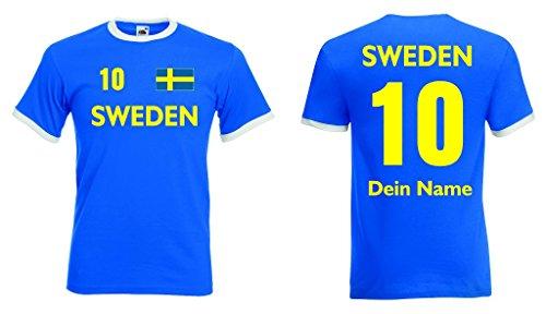 Sweden Retro Trikot mit Wunschname & Nummer von S-XXL|rb-l