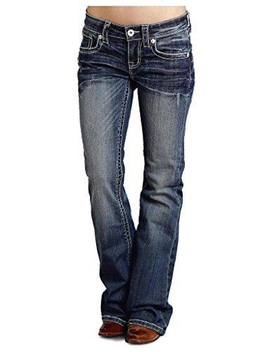 Stetson Women's 816 Fit White S' Stitch Bootcut Jeans Denim 14 R