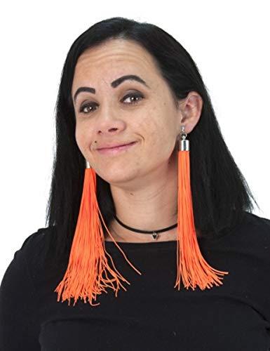 Generique - Boucles doreilles Franges Orange Fluo Adulte