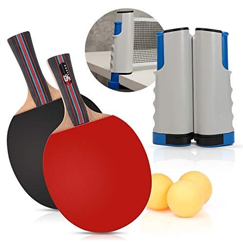 beststar PingPong Set - Includes Ping Pong Net for Any Table, 2 Ping Pong Paddles/Rackets, 3 Ping Pong Balls, Portable Table Tennis Set-Table Tennis Accessories for Home and Outdoor Play