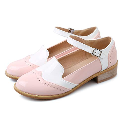 MIOKE Women's Two Tone Flat Mary Jane Oxford Shoes Lace Up Wingtip Low Heel Vintage Saddle Oxfords Brogues Pink