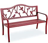 "PHI VILLA Outdoor Garden Bench, 50"" Steel Long Red Patio Bench for Yard, Lawn, Balcony, Porch, Red Bird Modern Bench with Backrest and Armrests"