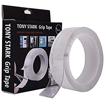 TONY STARK ® 3 m Double Sided Adhesive Heat Resistant Removable, Washable, Reusable, Sticky, No Trace, Anti-Slip Gel Multi-Functional Silicon Nano Tape, Transparent