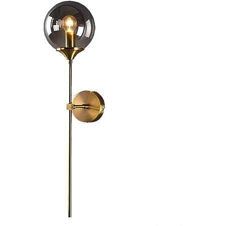MZStech Applique murale industrielle vintage, globe en verre Gris avec applique murale dorée à bras long, applique murale dorée pour chevet (Gris)