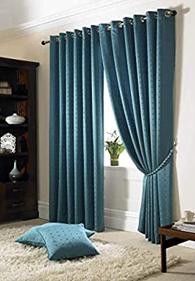 Jacquard Lined Check Teal Curtains 90x 90