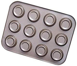 JoyGlobal 12 Cavity Carbon Steel Non-Stick Mini Tart Pan Baking Moulds Used for Cupcake Cheesecake Muffin Brownie Idli All...